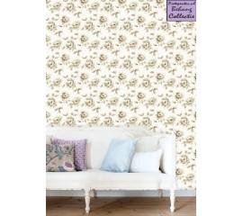 Behang beige grote rozen