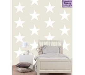 Behang beige grote sterren
