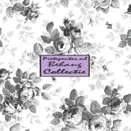 Behang zwart grijs grote rozen - Grijs behang ...
